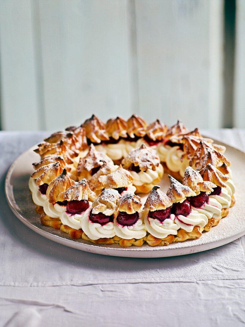 Bavarian cream puff wreath with cherries