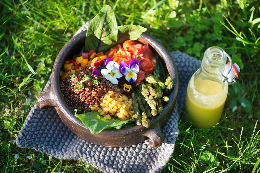 A salad with lentils, red quinoa, green asparagus, tomatoes, pepper and sorrel dressing