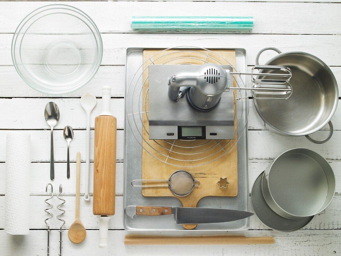 Kitchen utensils for preparing tiramisu star biscuits