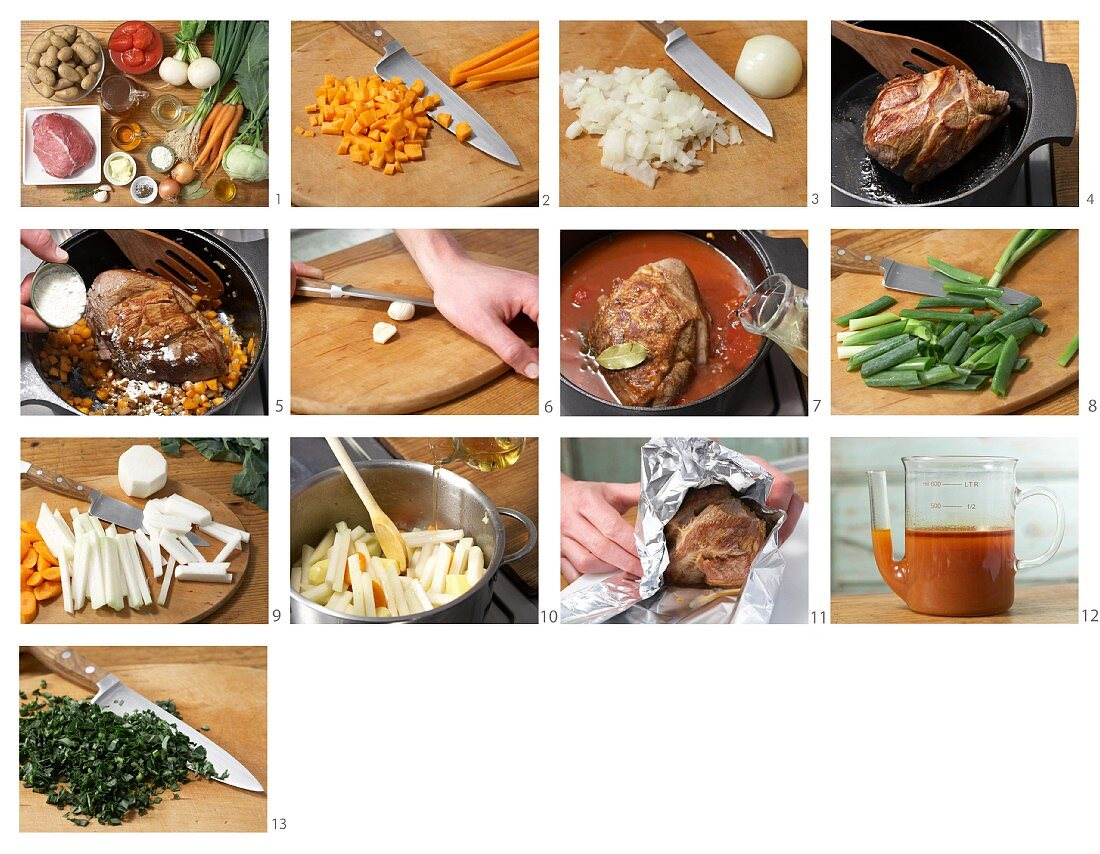How to prepare roast lamb with spring vegetables and new potatoes