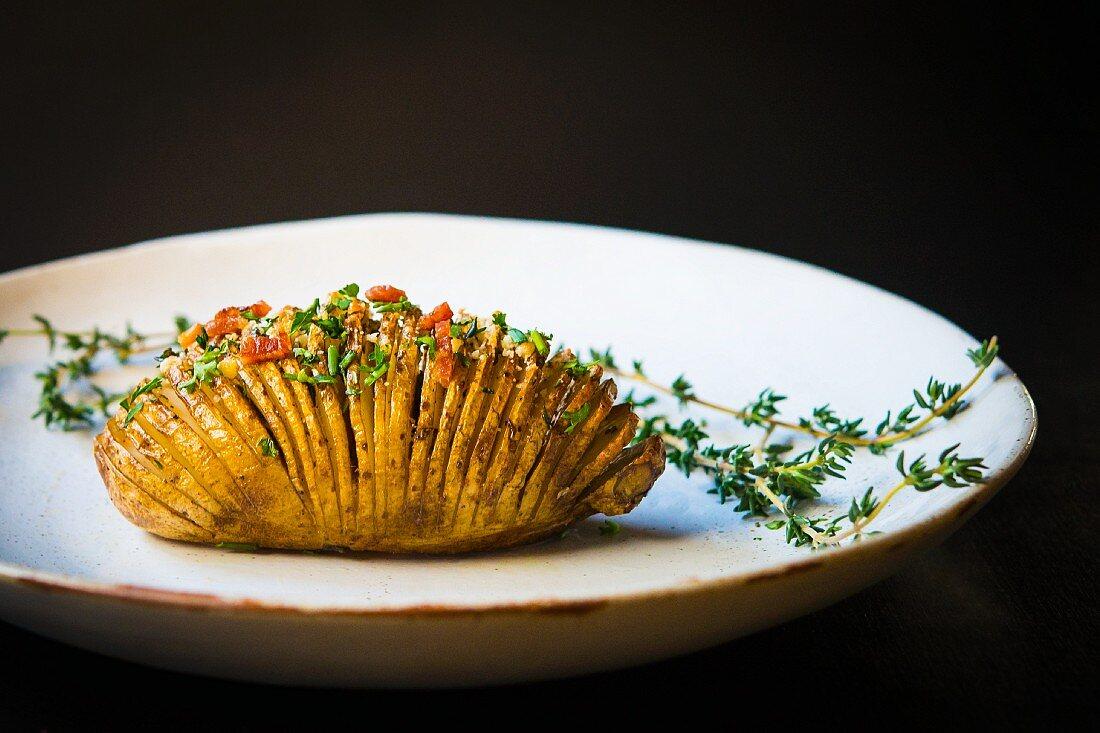 A hasselback potato (Sweden)