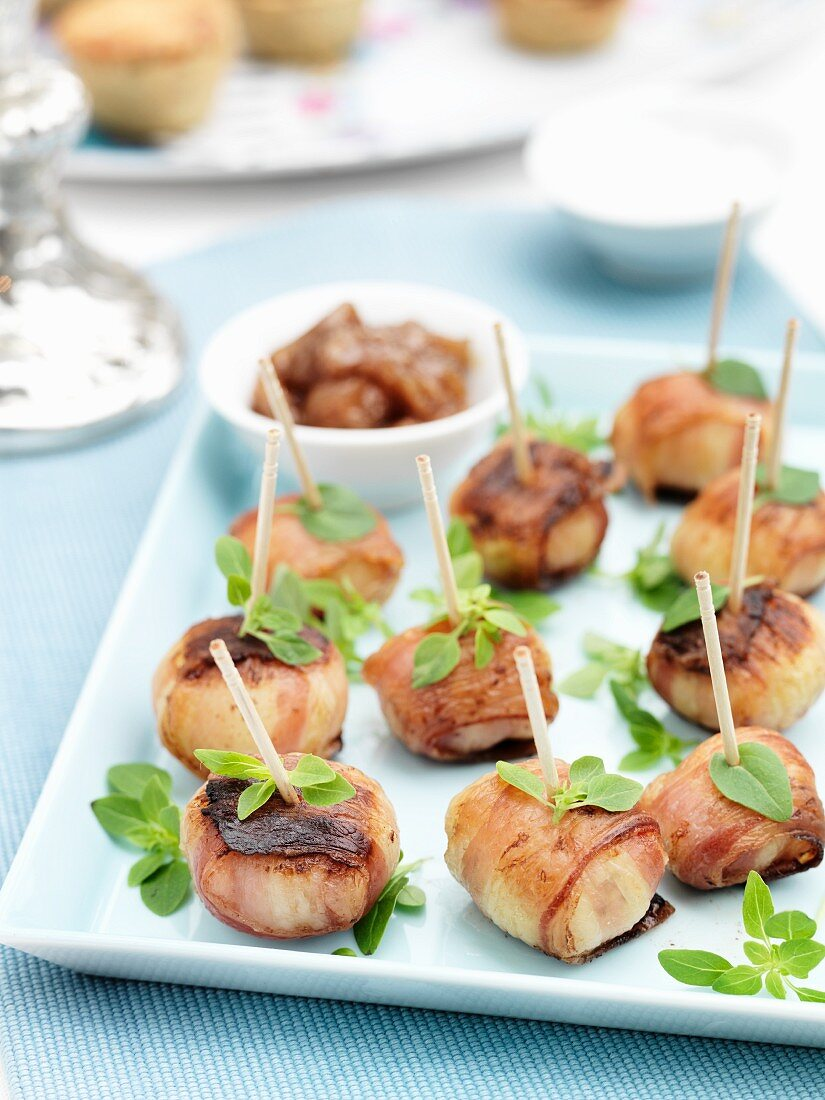 Baby potatoes wrapped in pancetta