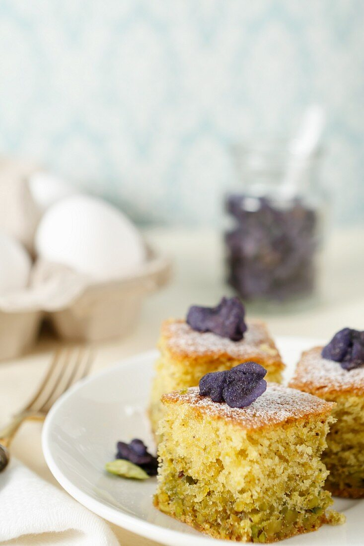 Pistachio cake with candied violets