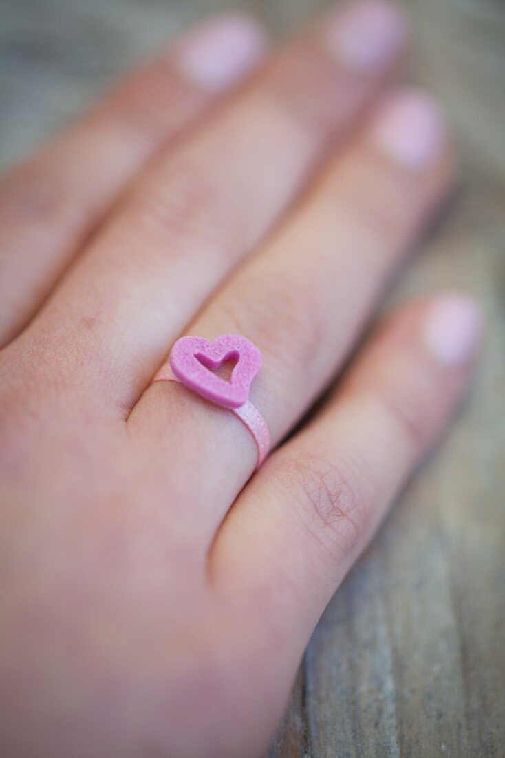 A ring with a sugar heart for Valentine's Day