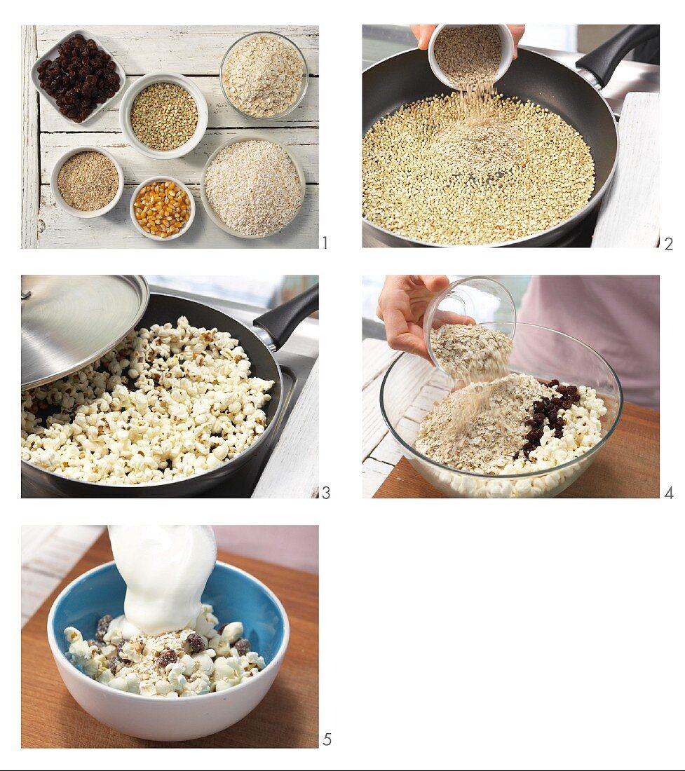How to prepare popcorn muesli with raisins