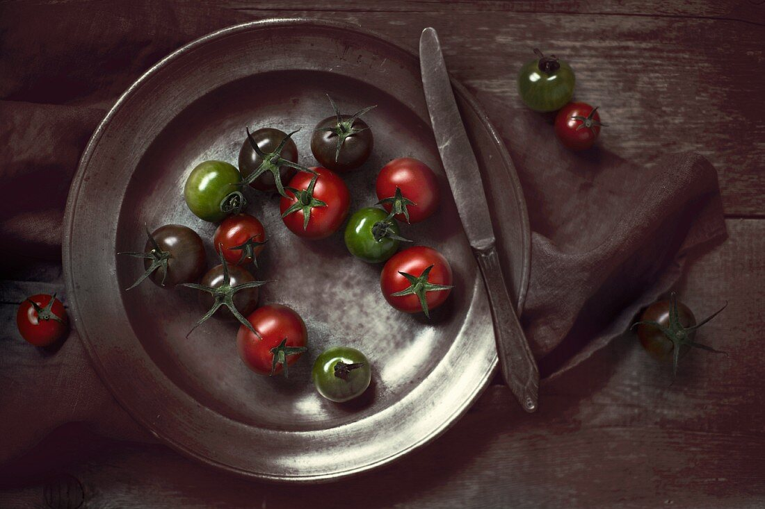 Tomatoes on a pewter plate
