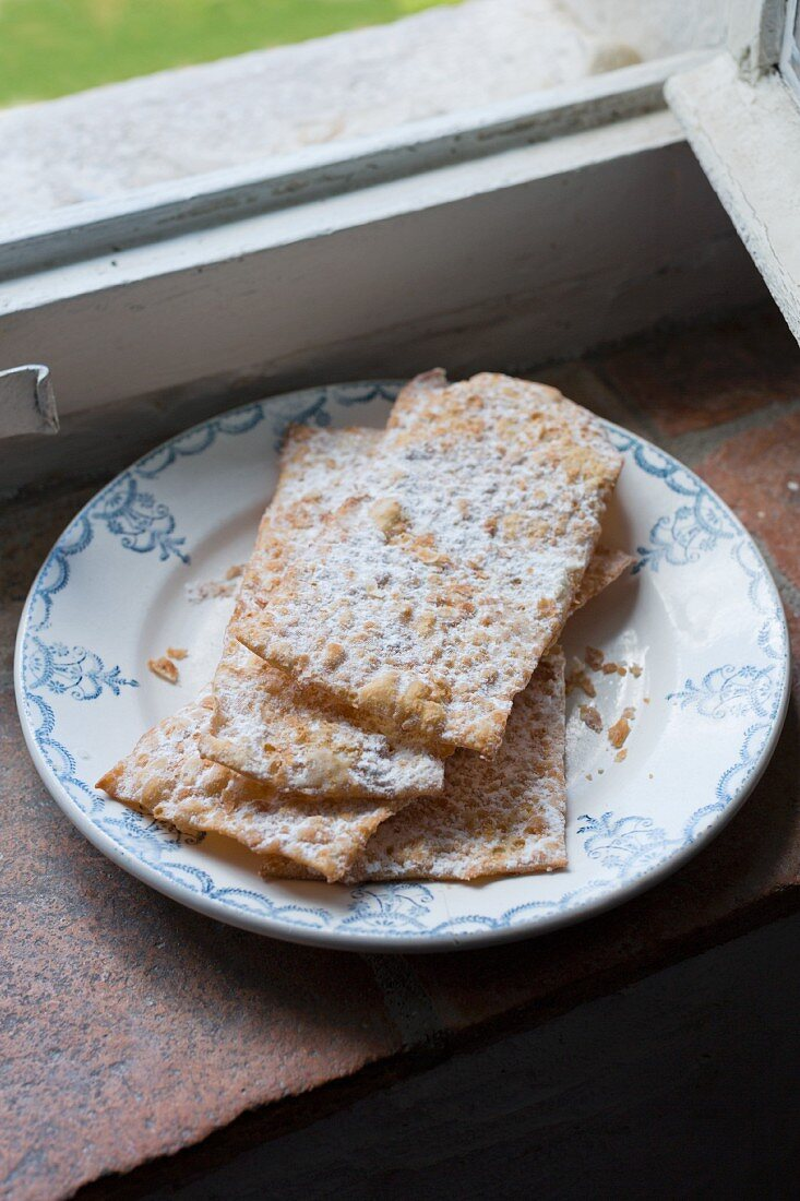 Puff pastry slices dusted with icing sugar