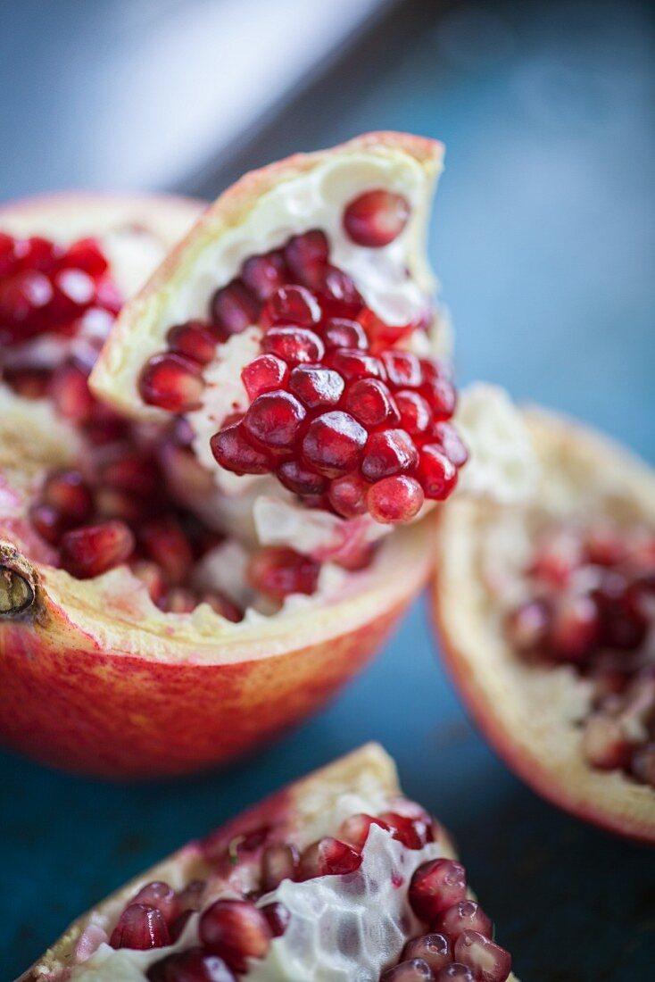 A bunch of pomegranates (close up)