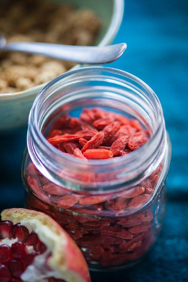 Goji berries in a storage jar for superfood recipes