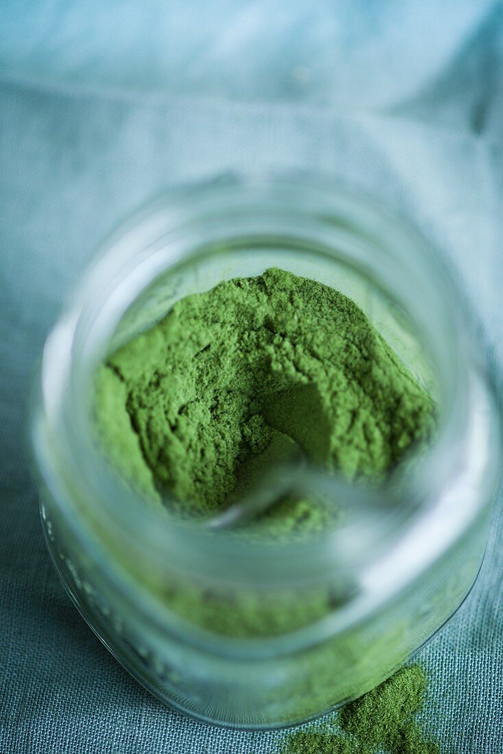 Wheatgrass powder in a glass jar (Superfood)