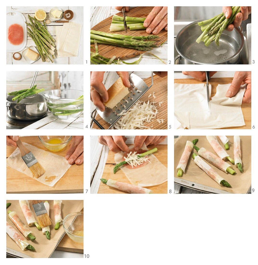 How to prepare green aspaeagus wrapped in crispy pastry with ham and cheesd