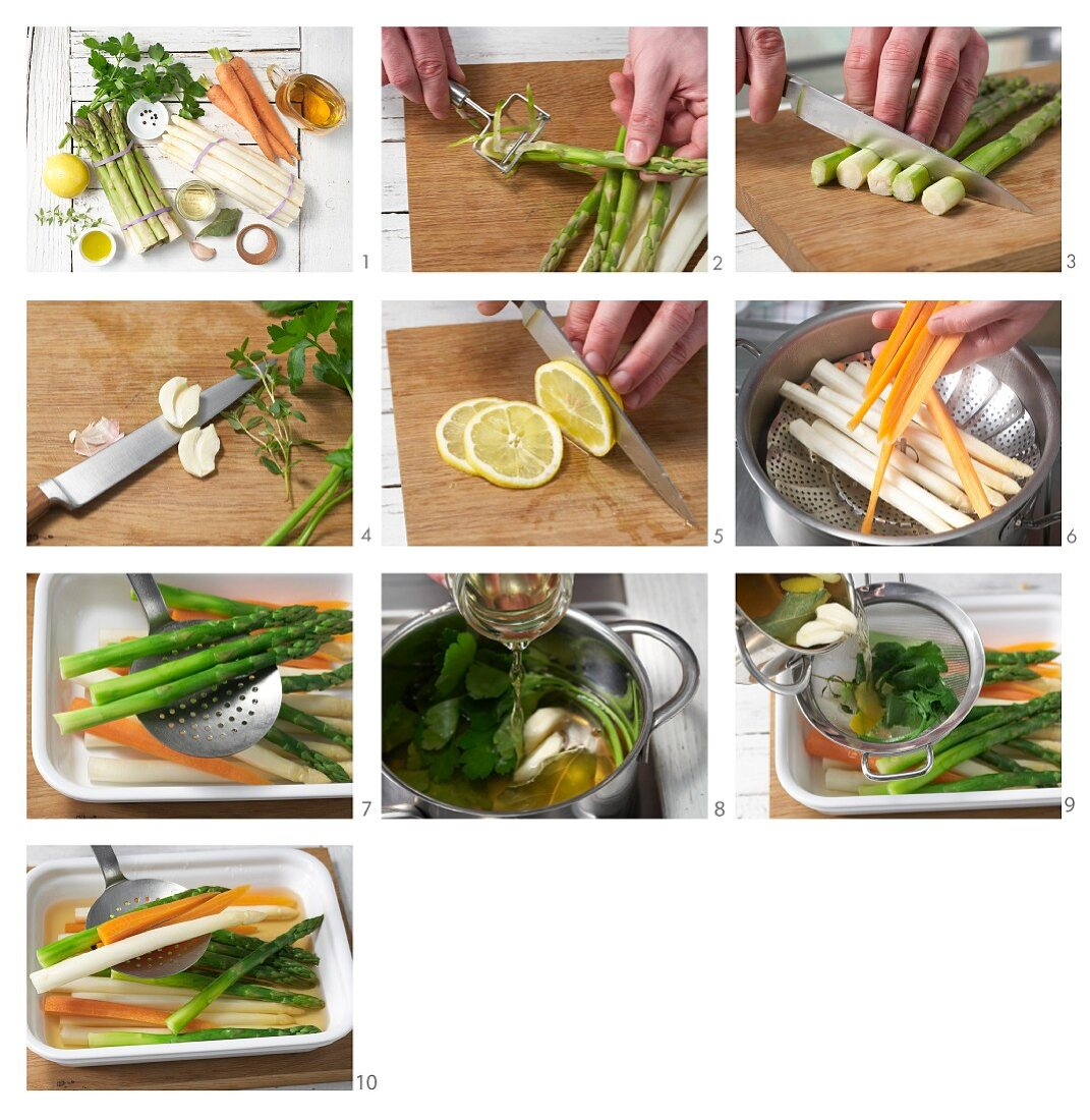 How to prepare marinated asparagus with carrots