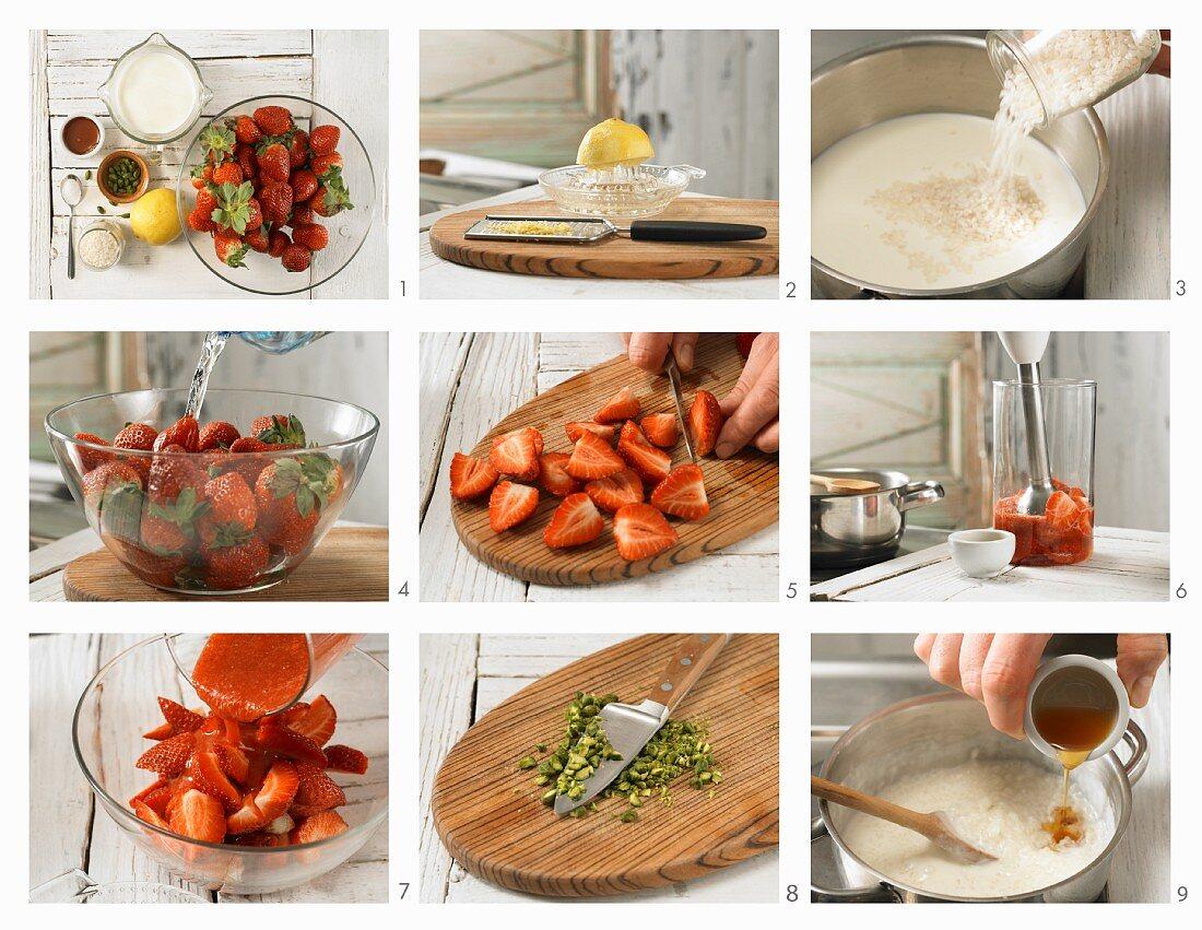 Erdbeerragout auf Milchreis mit gehackten Pistazien zubereiten