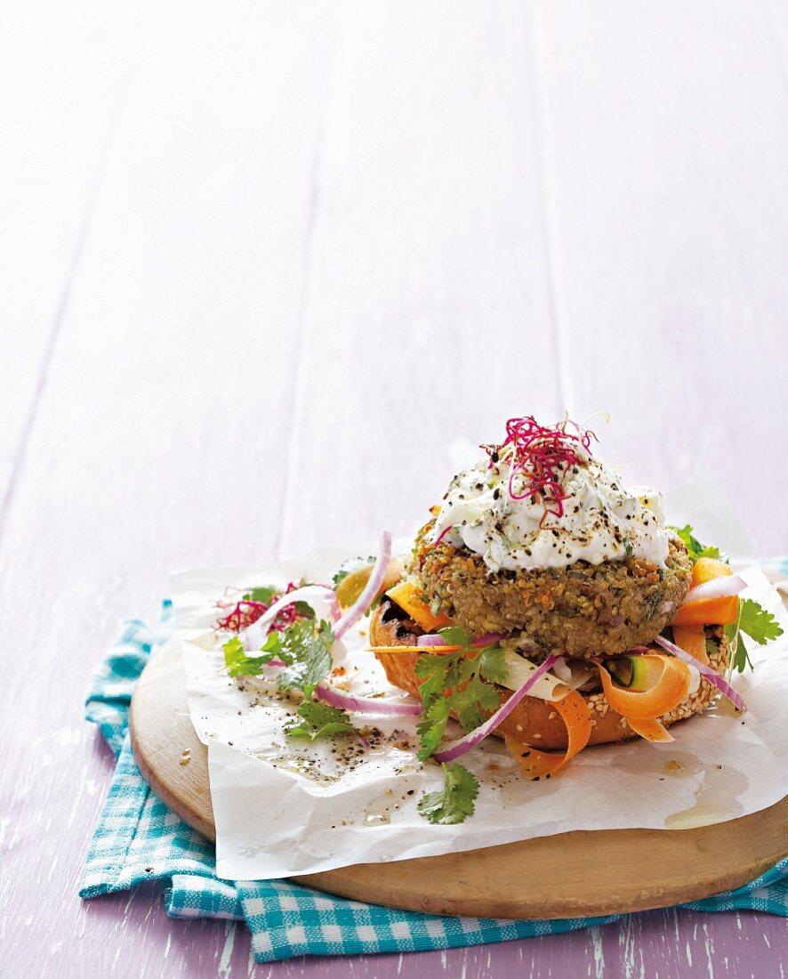 Quinoa burger with vegetables and a quark dip