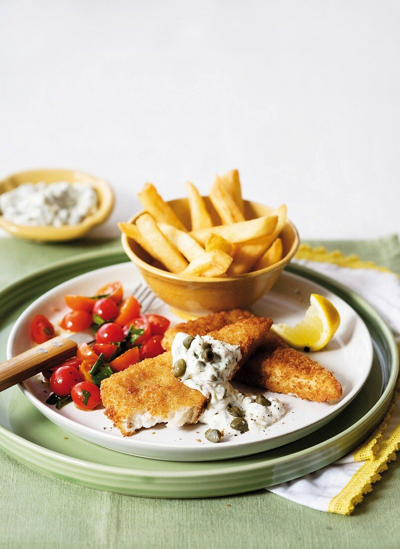 Fish and chips with a dollop of tartare sauce