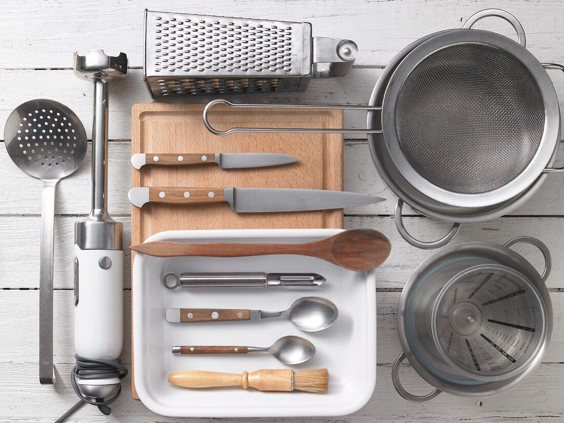 Kitchen utensils for preparing gnocchi and asparagus bake