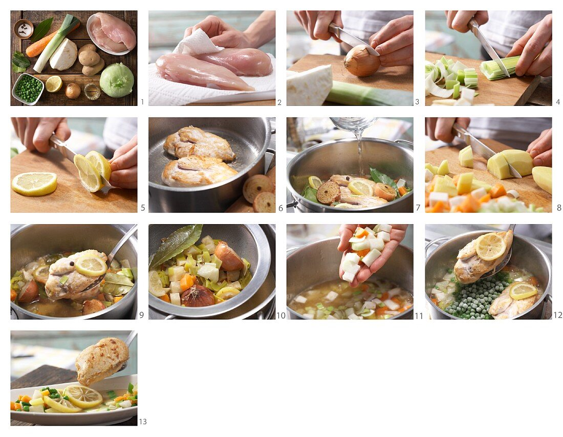 How to prepare lemon chicken with bouillon vegetables