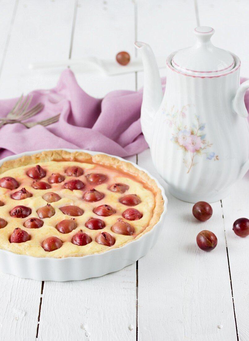 Gooseberry cheesecake tart