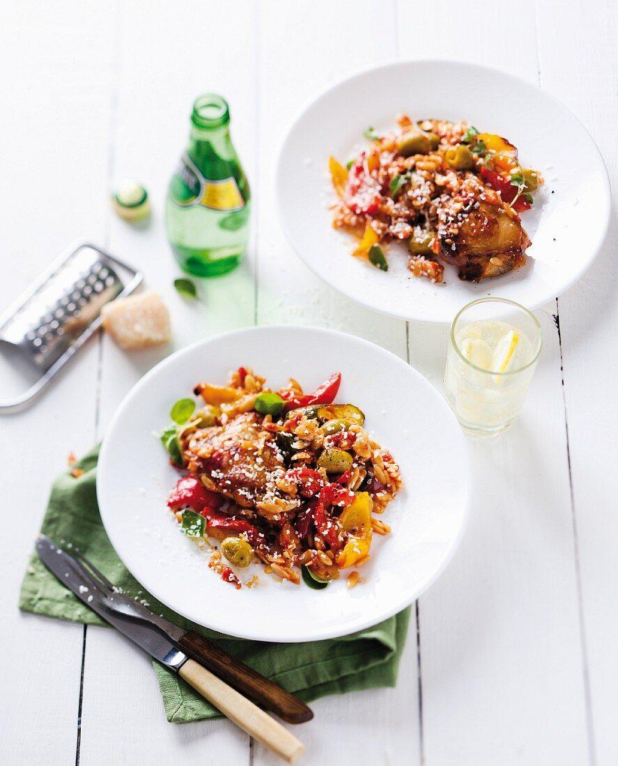 Mediterranean chicken stew with tomato and pepper