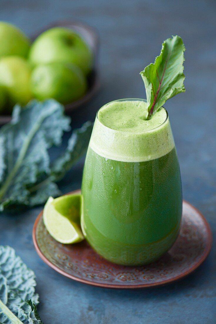 Kale & apple juice in a glass