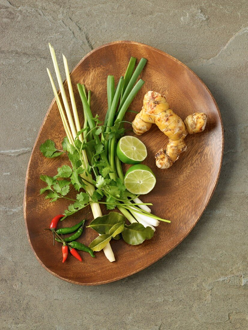 Ingredients for Tom Ka Gai soup from Thailand