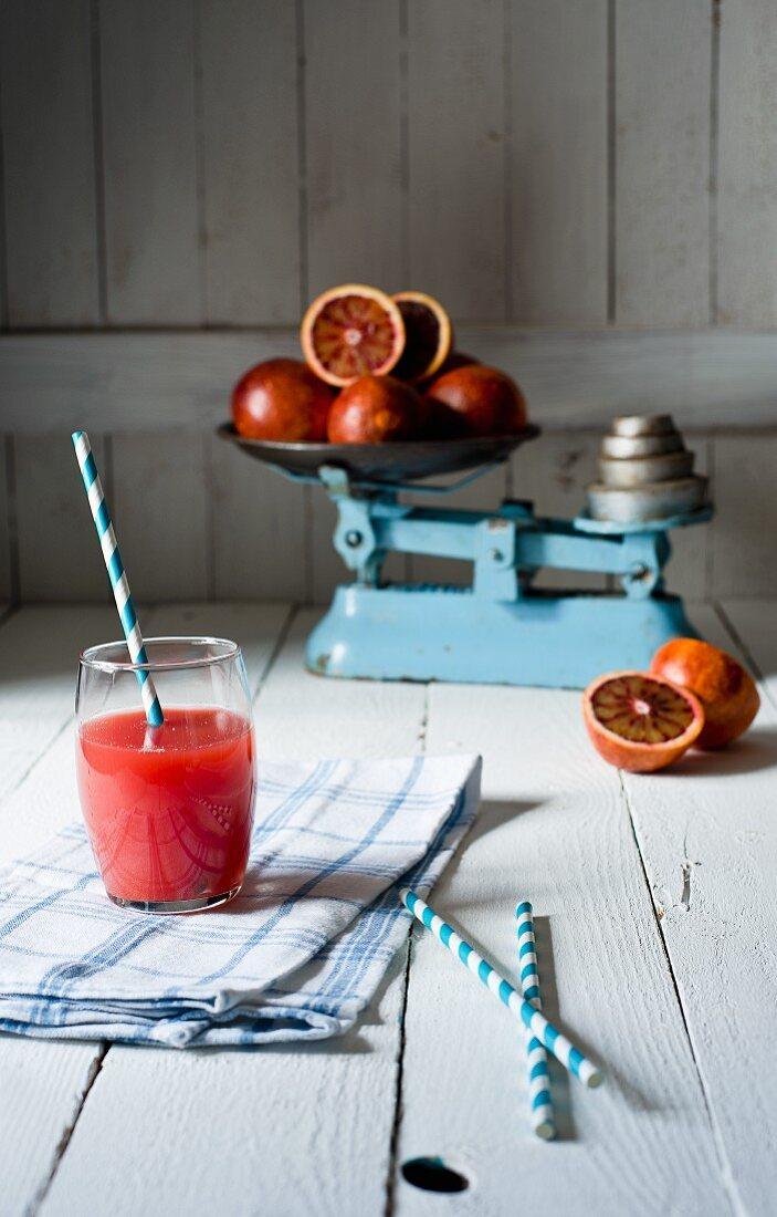 Freshly squeezed blood orange juice
