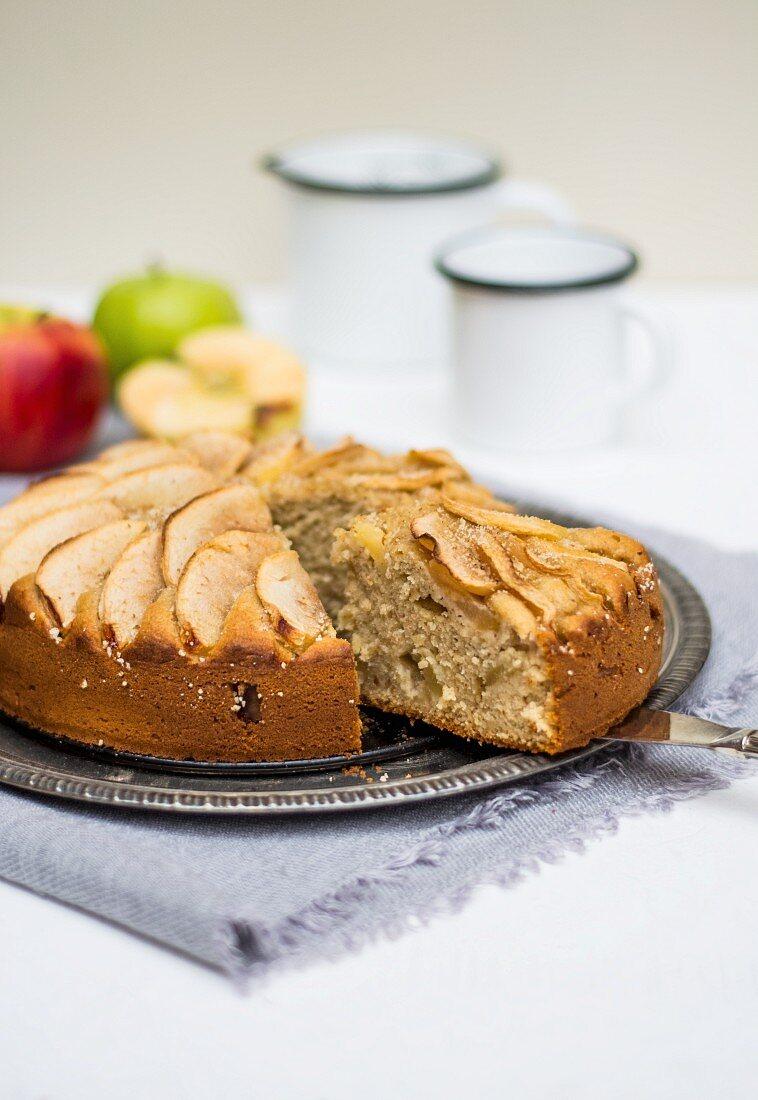 Apple cake, a piece cut