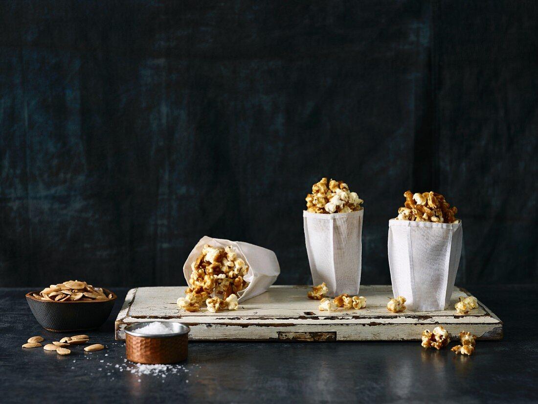 Caramel popcorn in paper bags