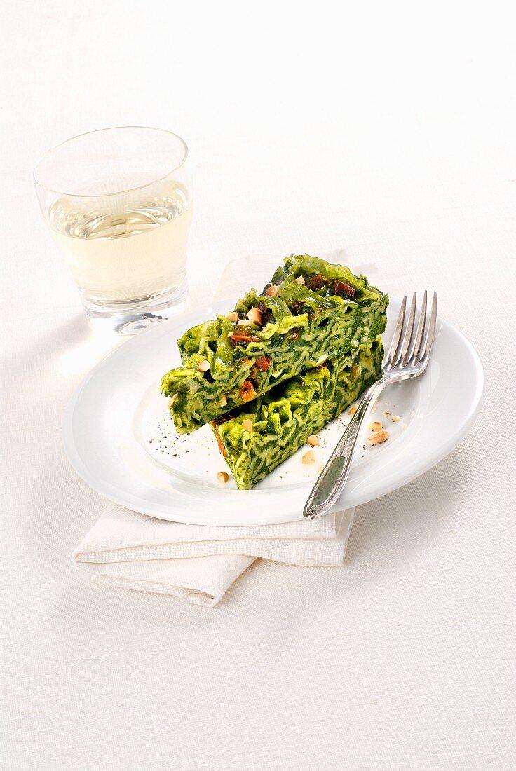 Frittata verde alle reginette (Italian herb & pasta omelette)