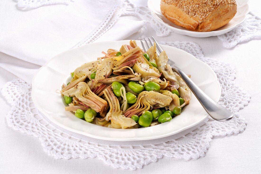 Frittedda siciliana (Italian artichoke & broad bean salad)