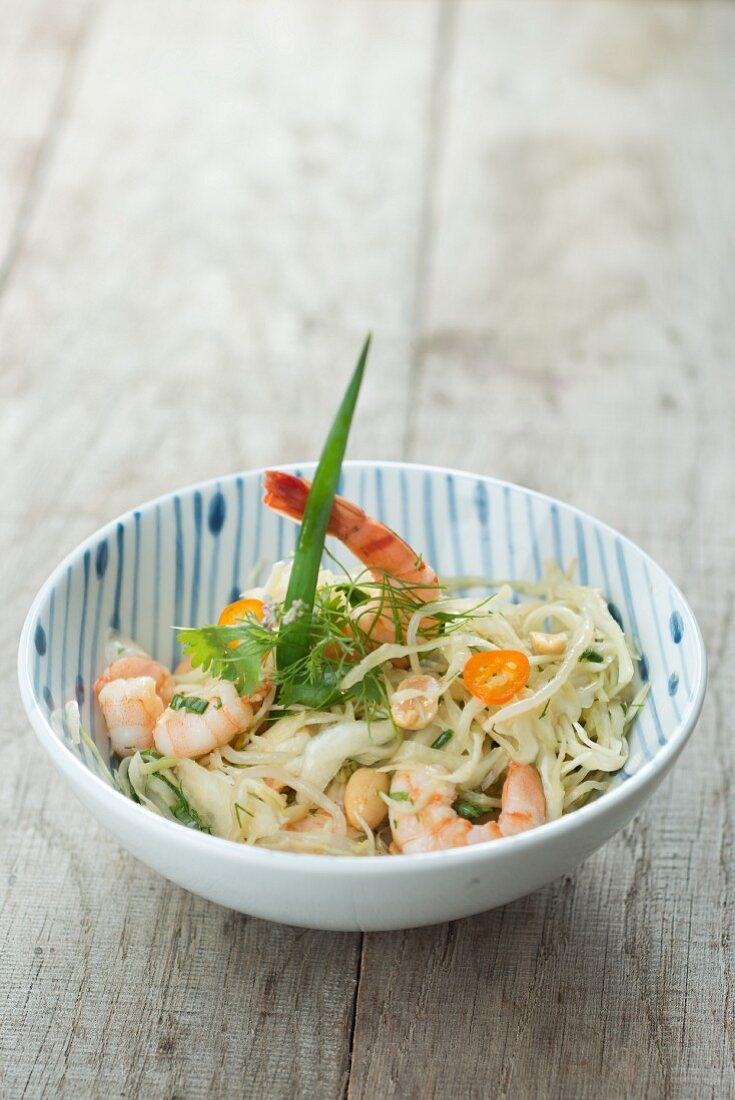 Cabbage salad with soya bean sprouts and caridean shrimp