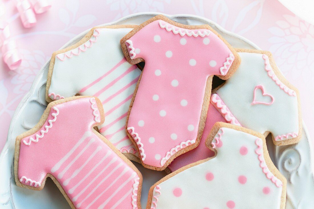 Cookies decorated with a baby girl theme
