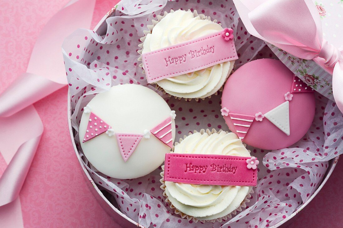 Gift box of birthday cupcakes