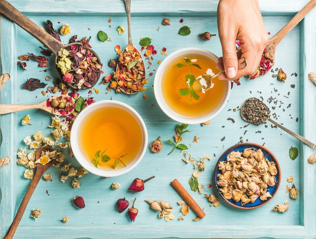 Two cups of herbal tea with mint, cinnamon and dried rose and camomile flowers in spoons