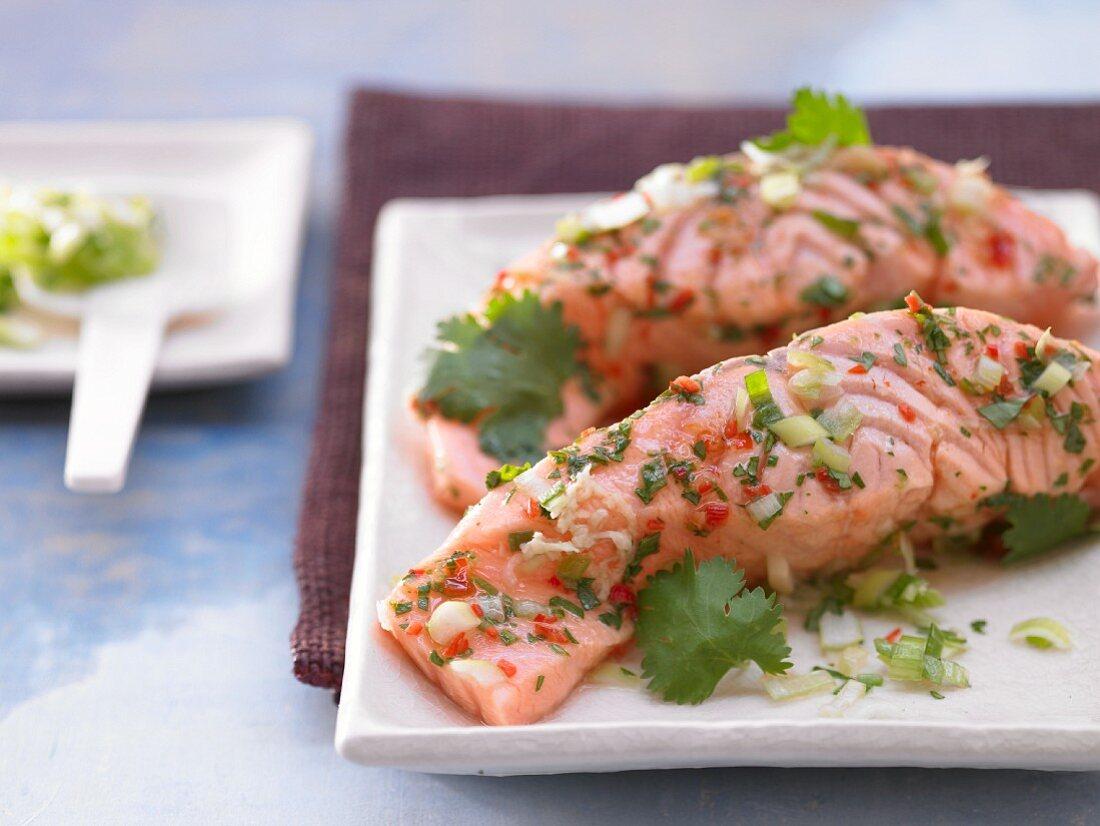 Gedämpftes Lachsfiletmit Chili und Koriander