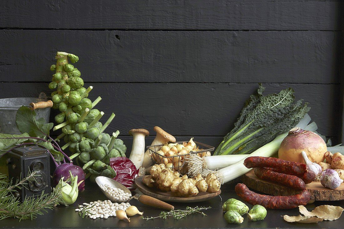 An arrangement of winter vegetables and chorizo