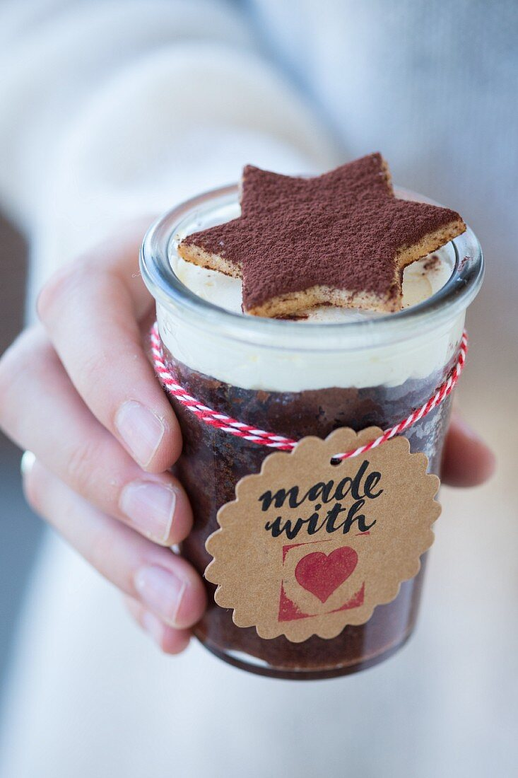 Chocolate cake in a glass for gifting