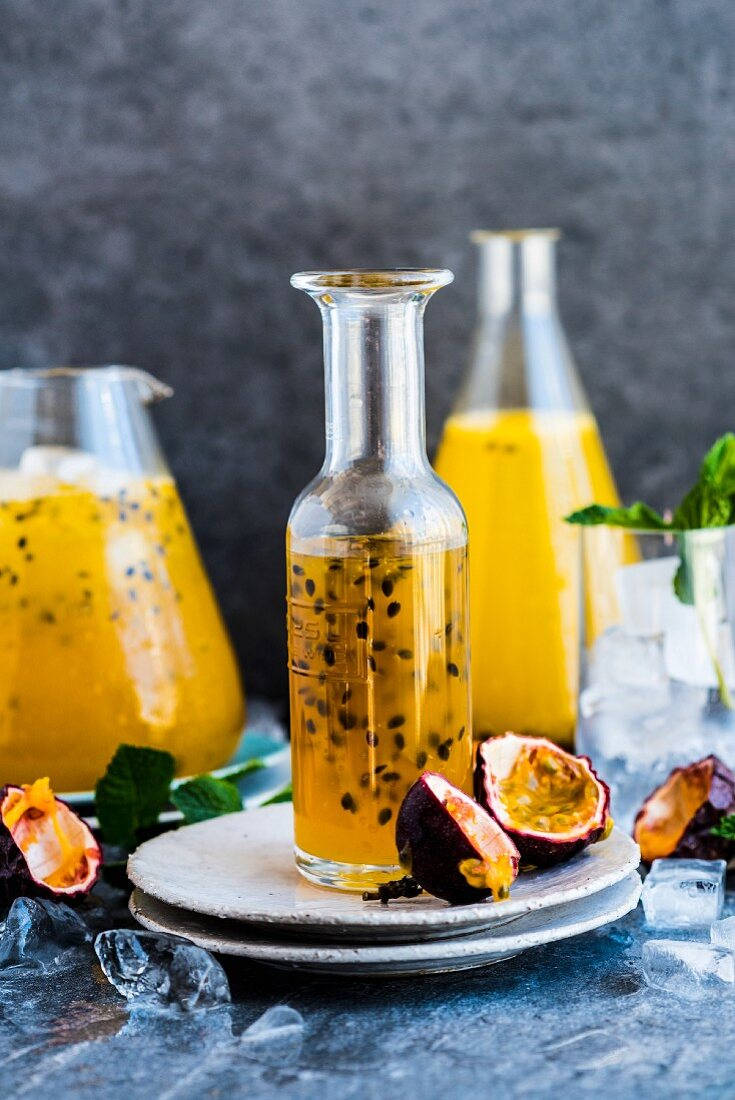 Passionfruit cocktail in a bottle