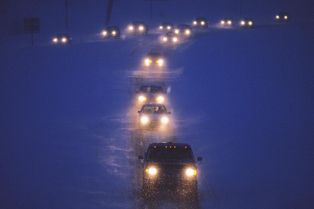 Traffic in Snowstorm