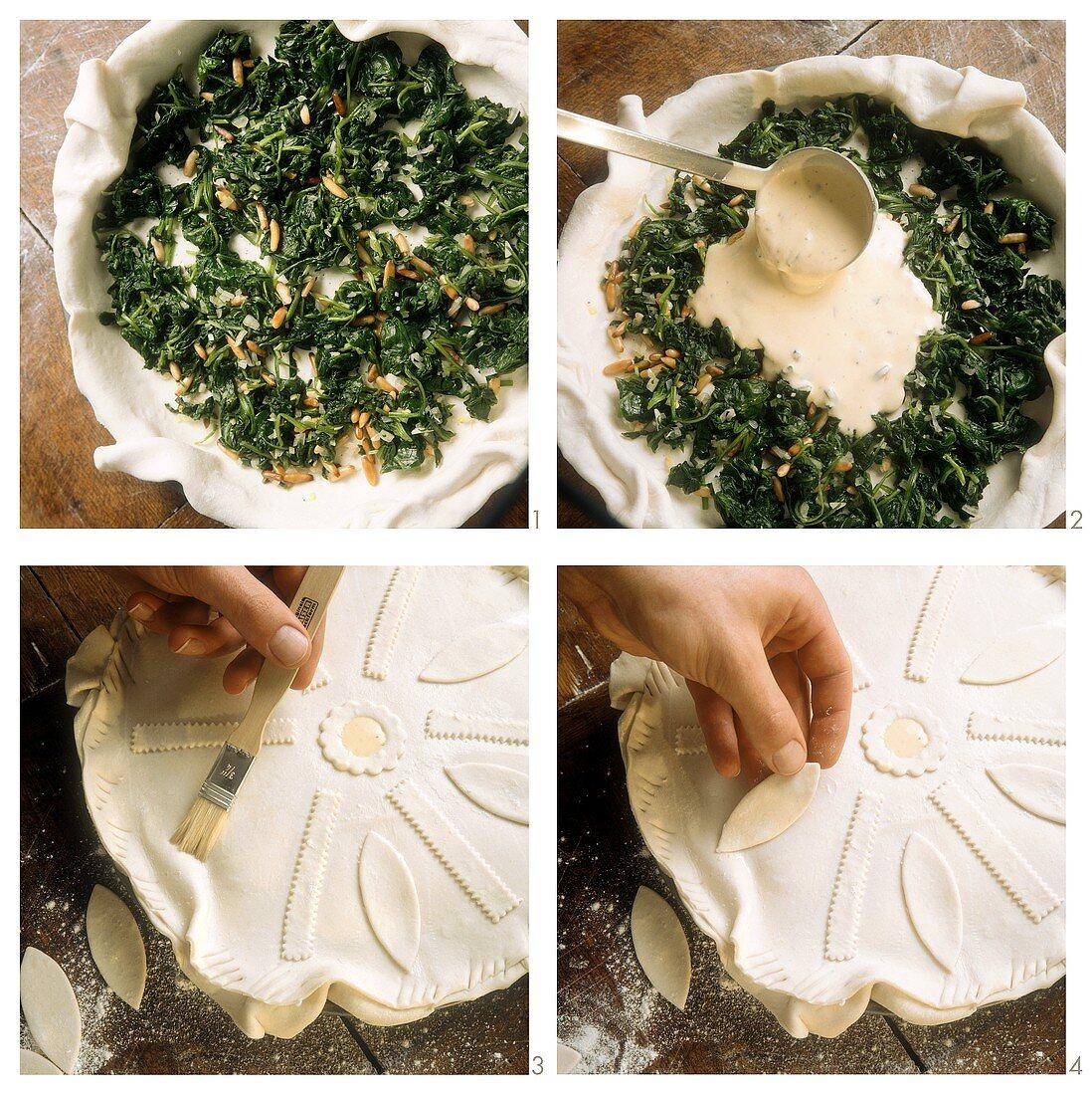 Making a Greek pie (pate a la grecque)