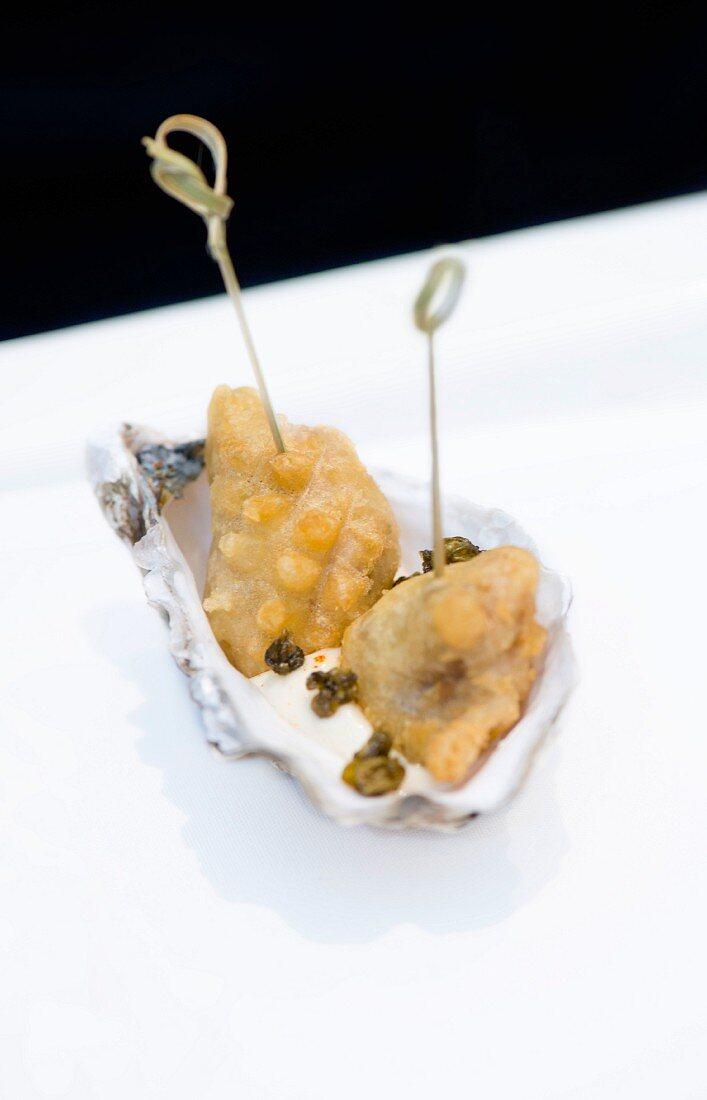 Oyster tempura in an oyster shell