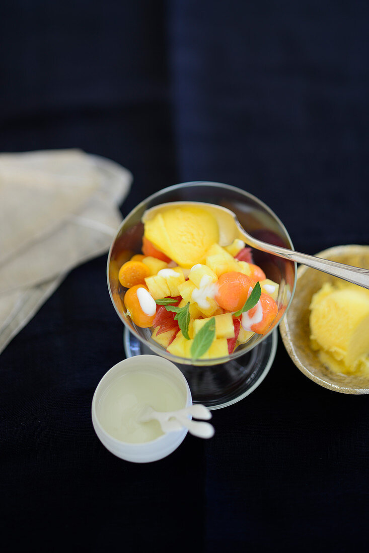 Exotic fruit cocktail with passion fruit sorbet