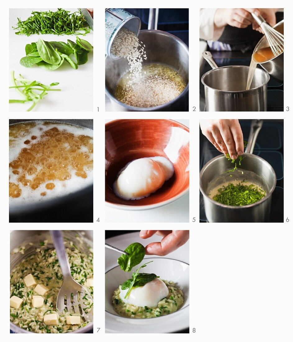 Risotto with poached egg being made