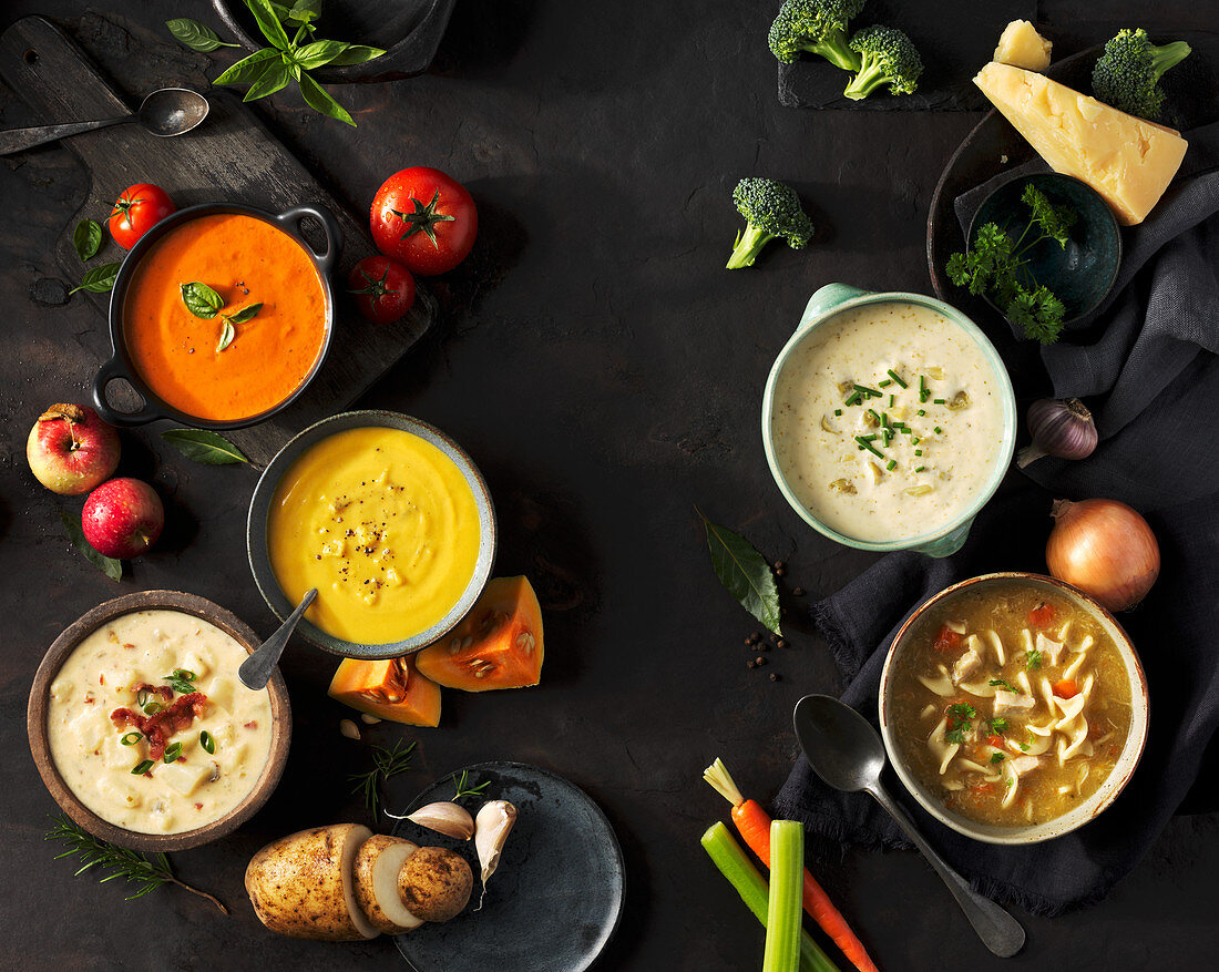 Various soups and their ingredients