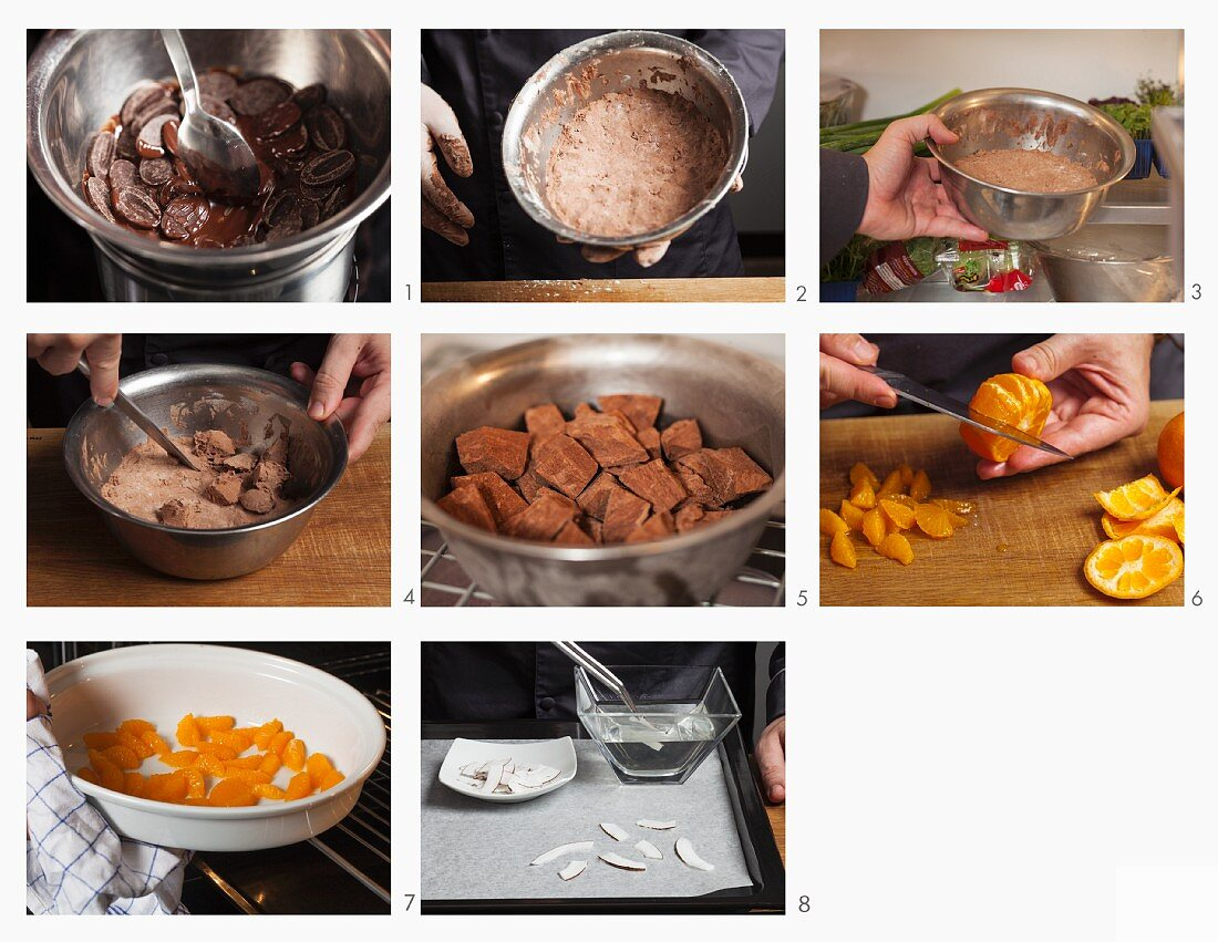 Iced chocolate cinnamon stars with oranges and coconut being made