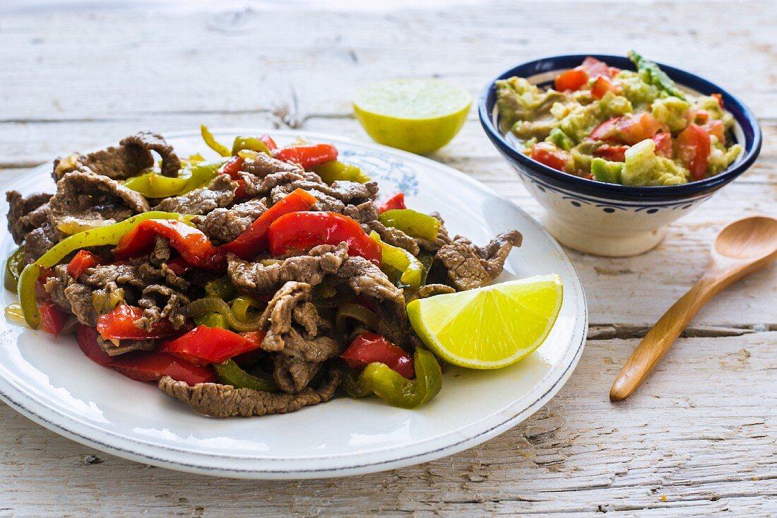 Beef fajitas with guacamole