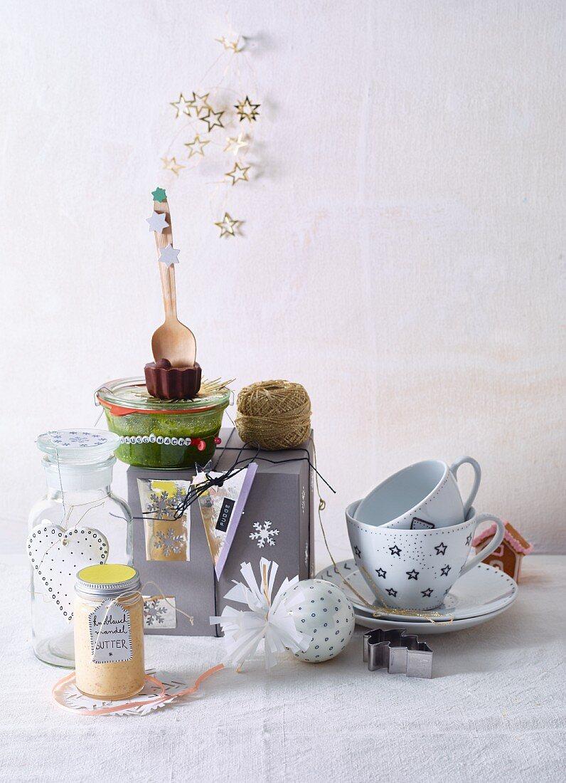 Various homemade culinary Christmas presents