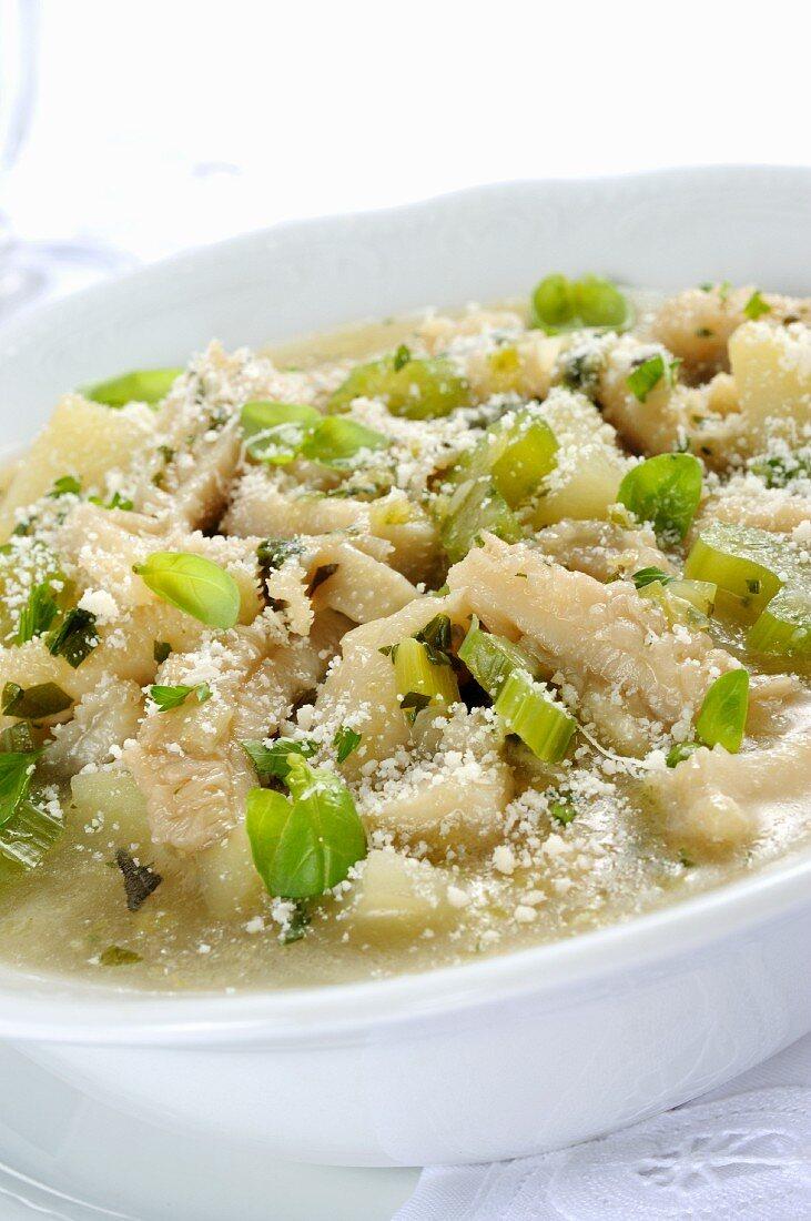 Tripe soup with celery