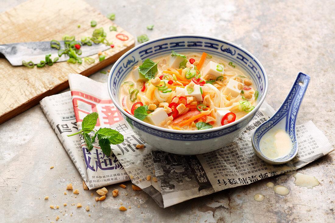Vegan laksa bowl with silken tofu