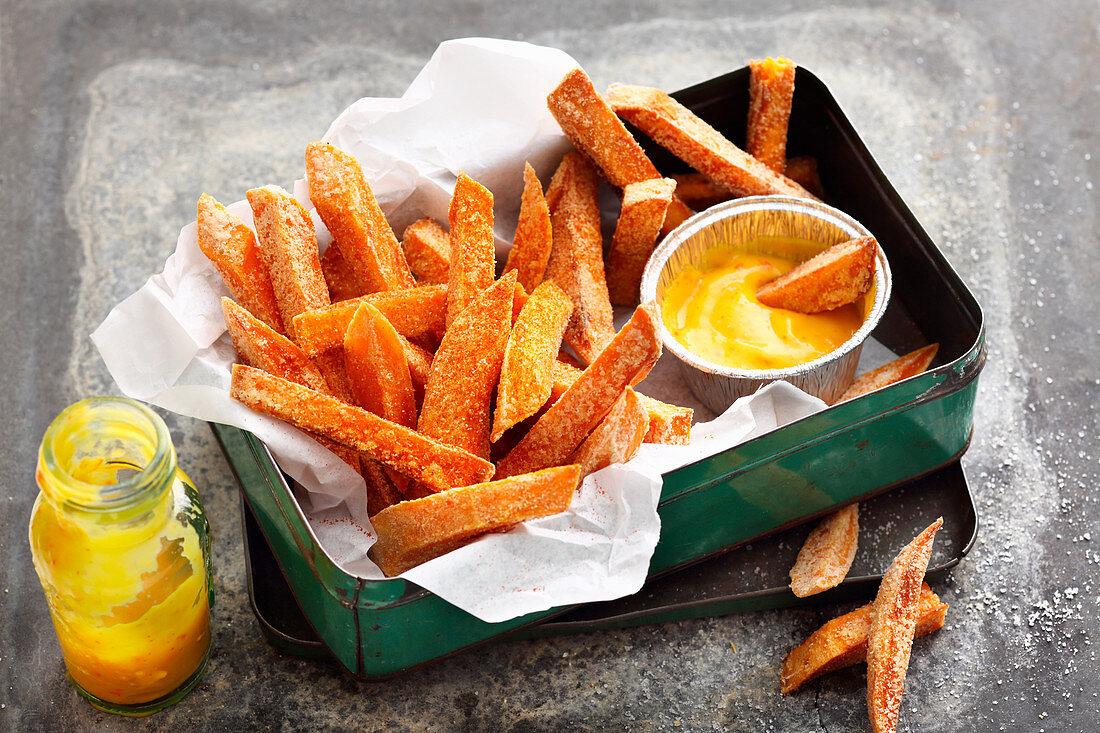 Sweet potato fries with a mango dip